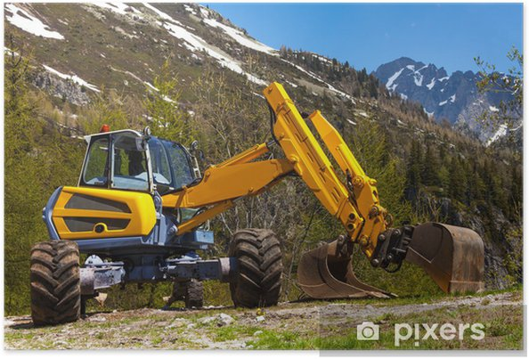 Plakát Žlutý bagr práci v blízkosti hor - Stroje