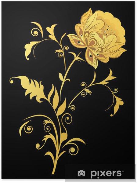 Plakát Žlutý dekorativní květiny na černém pozadí. - Květiny