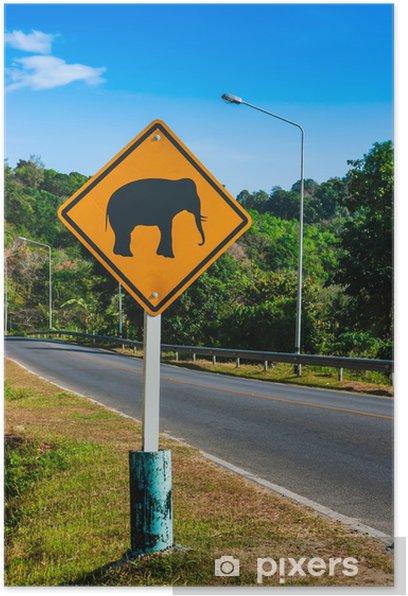 """Plakat Znak drogowy """"Uwaga"""" słonie na torze - Inne pejzaże"""