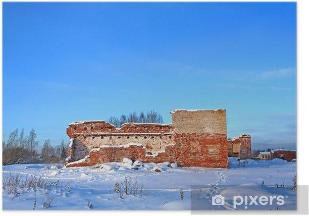 Plakat Zniszczone ściany starego budynku z cegły - Zabytki