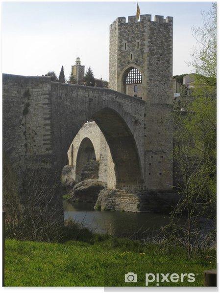 Plakat Zobacz średniowiecznego mostu Besalu, Katalonia, Hiszpania - Europa