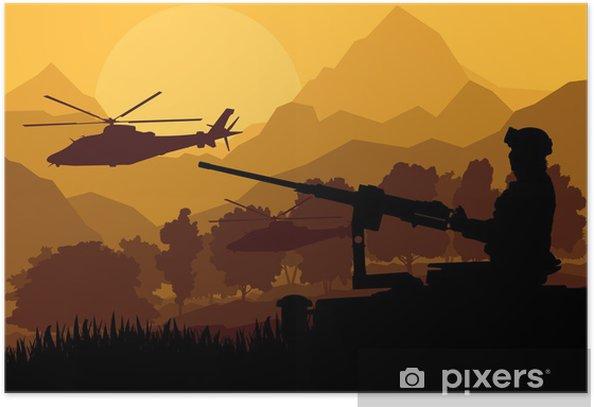 Plakat Żołnierz armii helikoptery, karabiny i transportu w dzikiej d - Tematy
