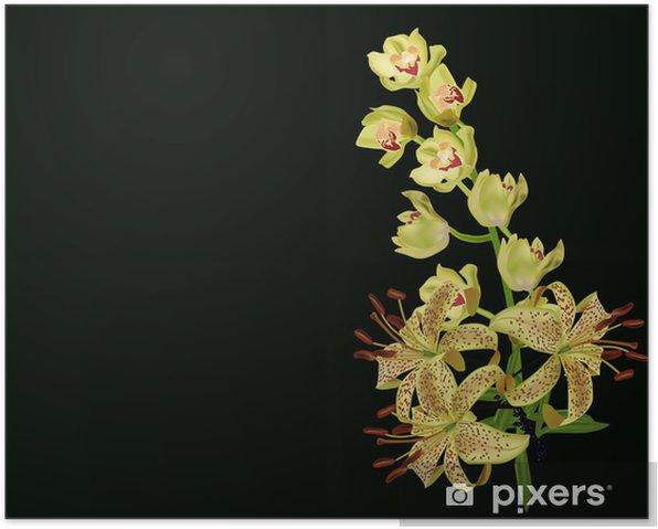 Plakat Żółta lilia i kwiaty orchidei odizolowane na czarno - Kwiaty