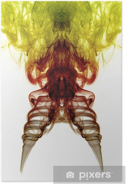 Plakat Żółty, brązowy i czerwony dym na białym tle - Tematy