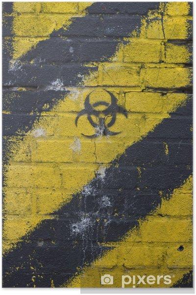 Plakat Żółty znak ostrzegawczy promieniowania radioaktywnego tła ściany - Tematy