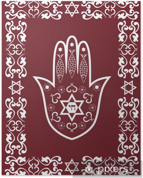 Plakat Żydowski święty amulet - lub ręcznie Miriam hamsa, wektor - Religie