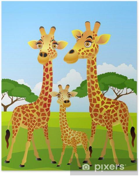 Plakat Żyrafa rodziny kreskówki - Dla ucznia