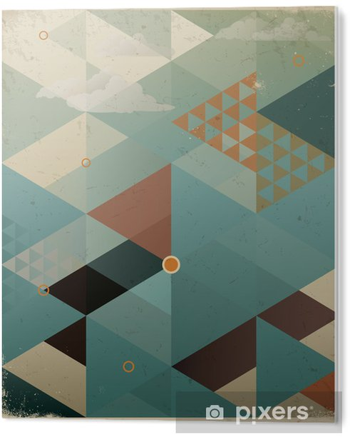 Plexiglas Print Abstracte Retro Geometrische Achtergrond met wolken -