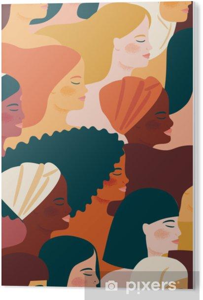 Plexiglas Print Internationale Vrouwendag. vector naadloos patroon met met vrouwen verschillende nationaliteiten en culturen. - Mensen