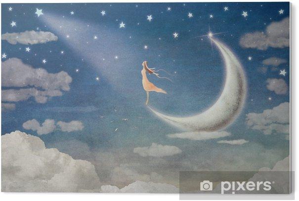 Plexiglas Print Meisje op maan bewondert de nachtelijke hemel - illustratie kunst - Gevoelens, Emoties en Staten van Geest