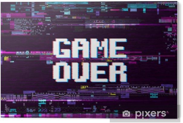 Plexiglas Print Spel over fantastische computer achtergrond met glitch ruis retro effect vector scherm - Grafische Bronnen