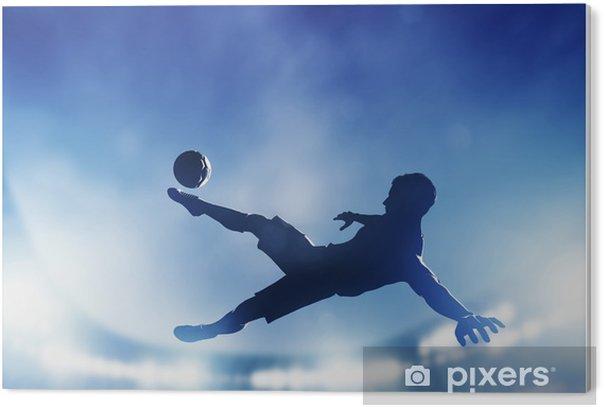 Plexiglas Print Voetbal, voetbal wedstrijd. Een speler schieten op doel - Thema's