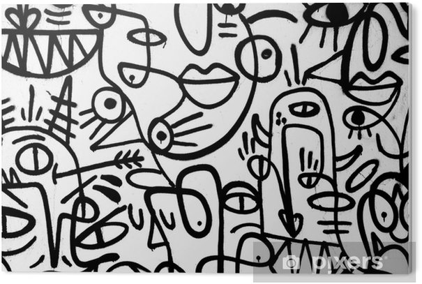 Plexiglas Print Zwart-wit patroon graffiti op de wall.spain, jerez, januari 2018.interessante achtergrond - Grafische Bronnen