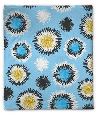 Pluche deken Abstract hand getrokken blauwe cirkels naadloze patroon. vectorillustratie, schetsontwerp.