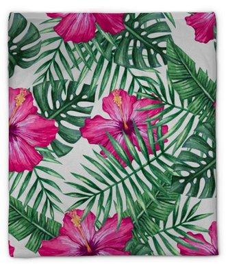 Pluche deken Aquarel orchidee bloem en palm verlaat naadloze patroon. vectorillustratie
