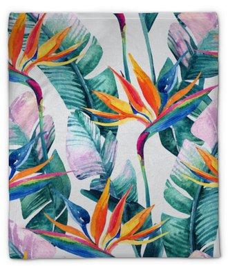 Pluche deken Aquarel tropische naadloze patroon met paradijsvogel bloem.