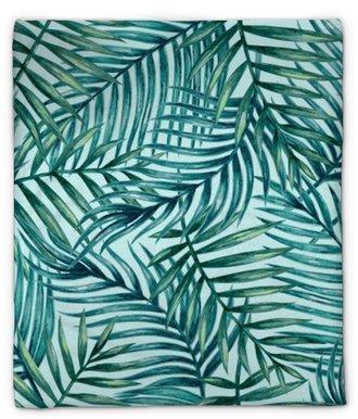 Pluche deken Aquarel tropische palm verlaat naadloze patroon. vectorillustratie