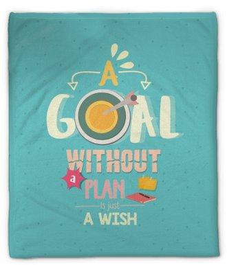 Pluche deken Een doel zonder een plan is slechts een wens citeert een woordposter