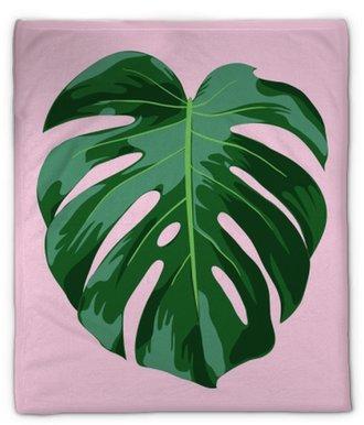 Pluche deken Monstera tropische bladillustratie
