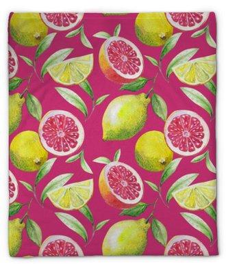 Pluche deken Mooi handgemaakt patroon van theeblaadjes en citrusvruchten: citroen, grapefruit, sinaasappel, limoen. waterverf.