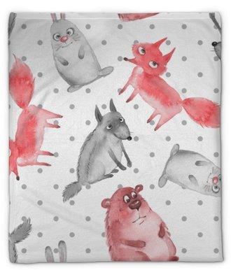 Pluche deken Naadloos patroon met cartoon bosdieren 2. wolf, beer, vos en haas