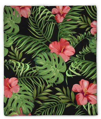 Pluche deken Naadloos patroon met exotische bloemen en bladeren. tropische planten