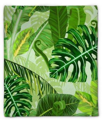 Pluche deken Naadloze patroon met tropische palmbladeren