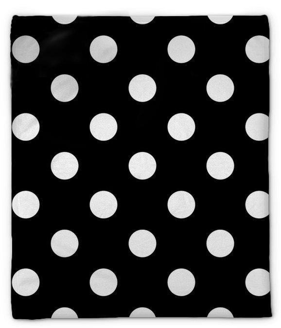 Pluche deken Naadloze polka dot zwart en wit - Grafische Bronnen