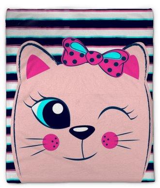 Pluche deken Schattig roze kitten met roze strik op gestreepte achtergrond. meisjesachtige print met kat voor t-shirt