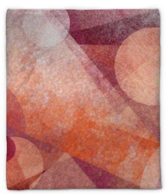 Plüschdecke Abstrakter moderner geometrischer Hintergrundentwurf mit verschiedenen Beschaffenheiten und Formen, sich hin- und herbewegende Kreise quadriert Diamanten und Dreiecke in den orange weißen und Burgunder-Rosafarben, künstlerischer Zusammensetzungslayout