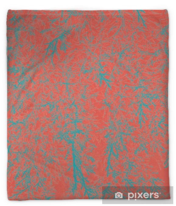 Abstract natural leaves background. Living Coral creative and moody color of the picture. Plush Blanket - Graphic Resources