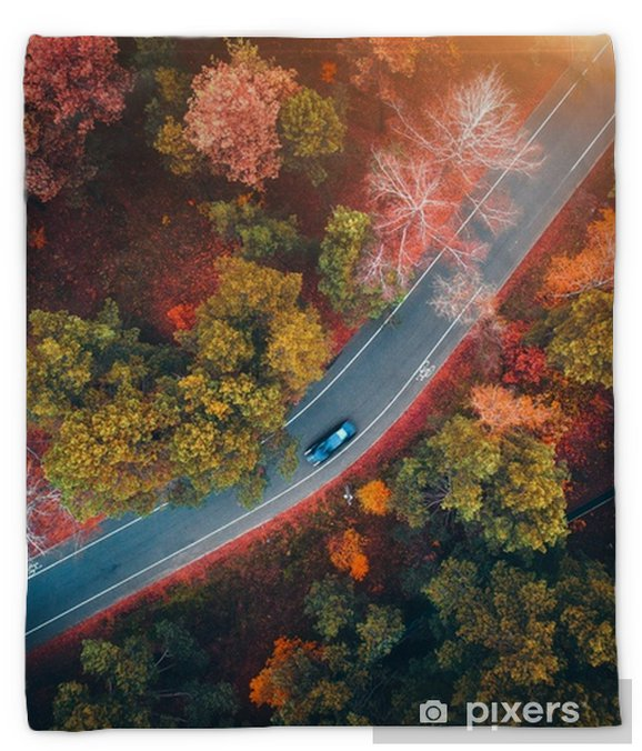 Aerial View Of Road With Blurred Car In Autumn Forest At Sunset Amazing Landscape With Rural Road Trees With Red And Orange Leaves In Day Highway Through The Park Top View From