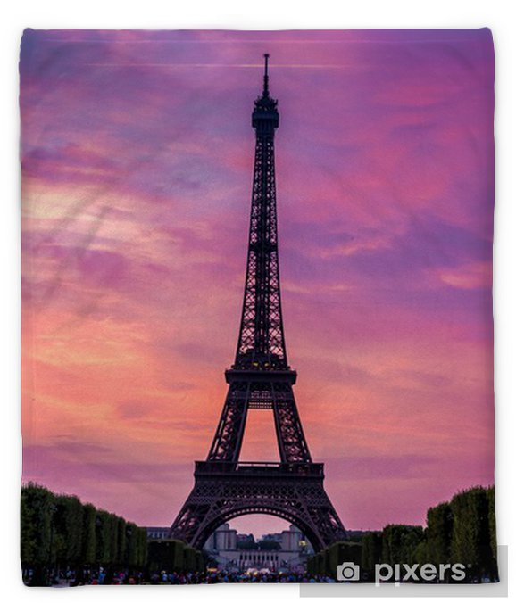 Eiffel Tower At Sunset In Paris Plush Blanket Pixers We Live To Change