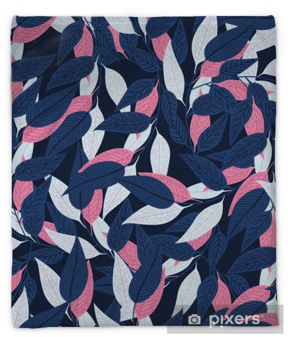 Floral seamless pattern. Leaf pattern on dark blue background for printing design. Vector illustration Plush Blanket - Plants and Flowers