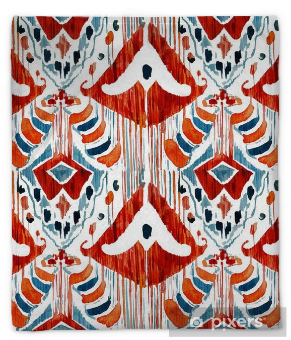 Ikat seamless bohemian ethnic pattern in watercolour style. Plush Blanket - Graphic Resources