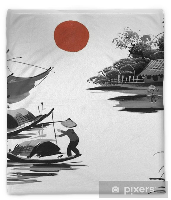 Landscape With Hills Sun Lake And Fisherman In Traditional Japanese Sumi E Style On Vintage Watercolor Background Vietnam China Plush Blanket Pixers We Live To Change