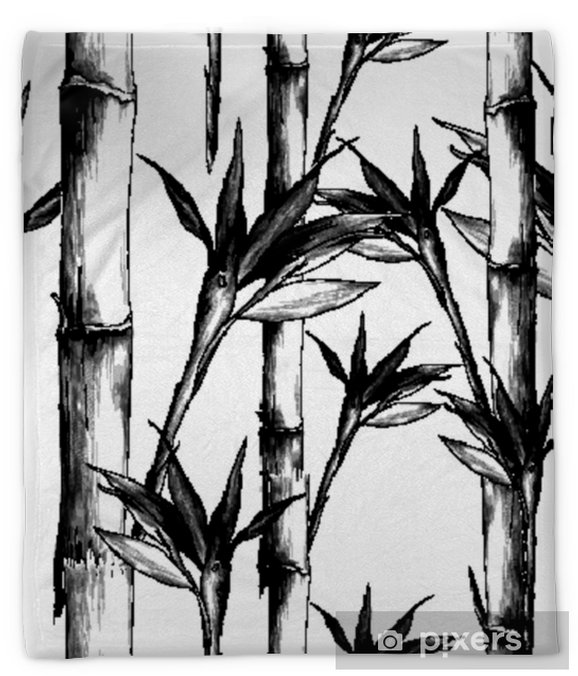 Leaves Branches Stem Bamboo Pattern Flowers Texture Frame Seamless Sketch Vector Graphics Monochrome Black And White Drawing Plush Blanket Pixers We Live To Change