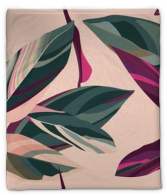Leaves of Cordelia on a pink background. Floral seamless pattern. Plush Blanket