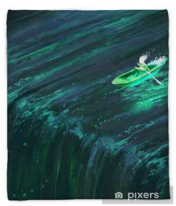 Man Rowing In Glowing Green Boat Near