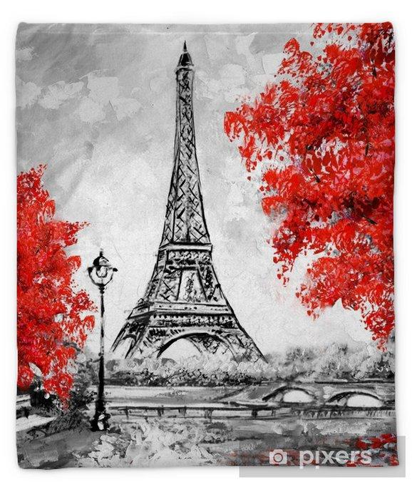 Oil Painting Paris European City Landscape France Wallpaper Eiffel Tower Black White And Red Modern Art Plush Blanket Pixers We Live To Change