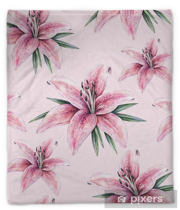 Pink Lily Flowers Isolated On Pink Background Watercolor Handwork Illustration Drawing Of Blooming Lily With Green Leaves Seamless Pattern With Lilies For Design Plush Blanket Pixers We Live To Change