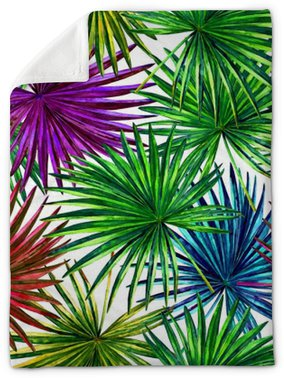 Seamless floral pattern with beautiful watercolor fan palm leaves. Colorful jungle foliage on white background. Textile design. Plush Blanket
