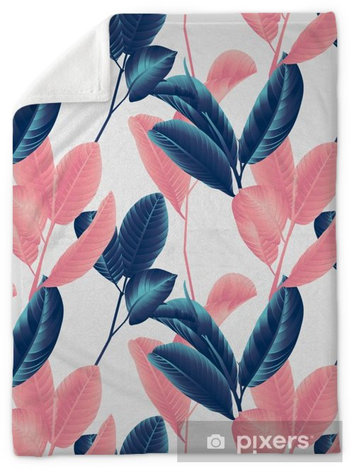 Seamless pattern, hand drawn blue and pink guava leaf on sprig on grey background Plush Blanket - Plants and Flowers