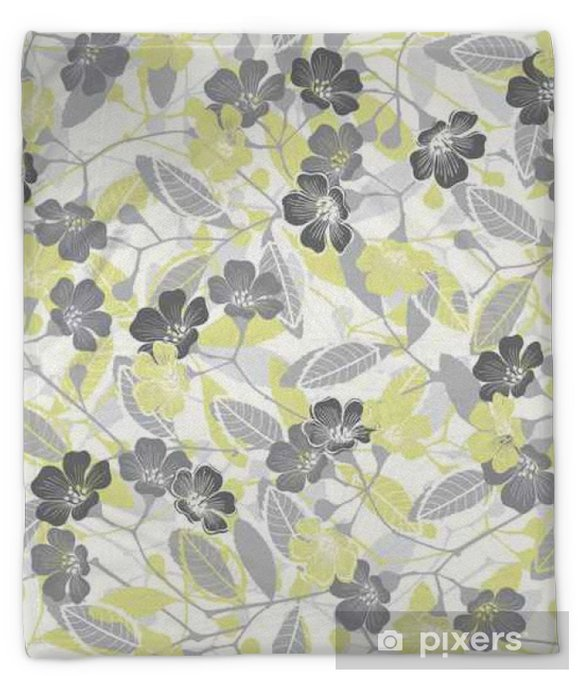 Seamless pattern with flowering branches. Vector hand-drawn illustration Plush Blanket - Plants and Flowers