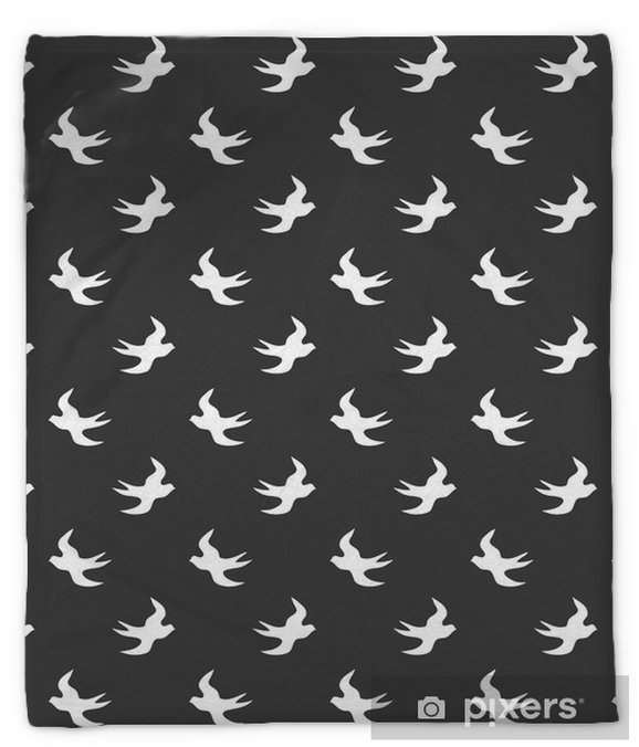 Stylish abstract seamless pattern with black graphic swallow. Plush Blanket - Landscapes