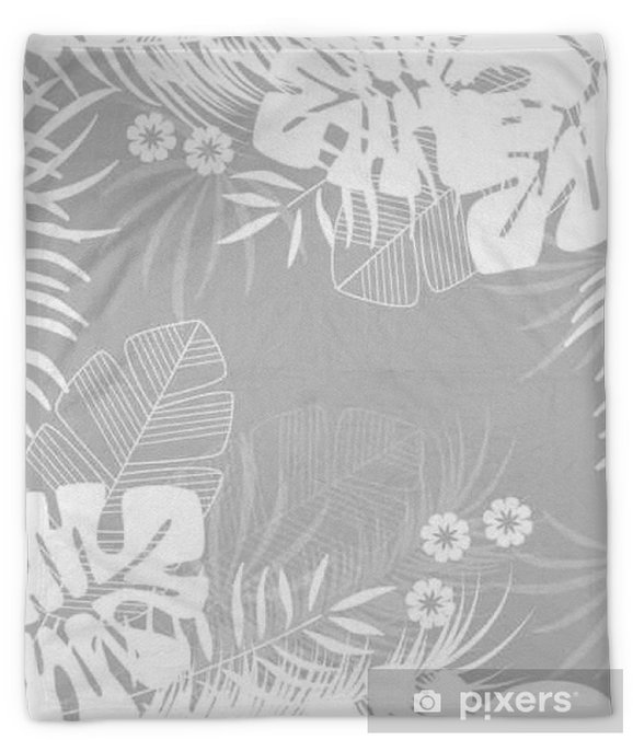 Summer seamless tropical pattern with monstera palm leaves and plants on gray background Plush Blanket - Graphic Resources