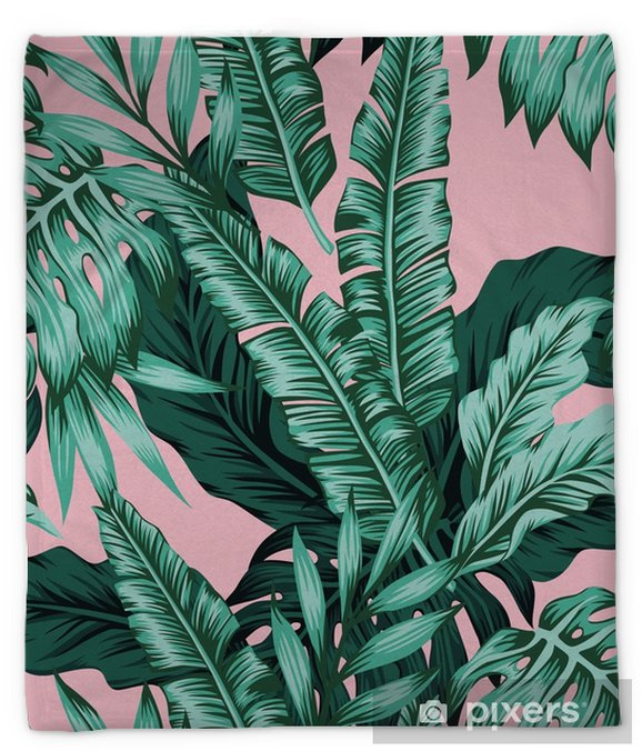 Tropical Leaves Green Seamless Pink Background Plush Blanket Pixers We Live To Change Tropical leaves foliage plant jungle bush floral arrangement nat. tropical leaves green seamless pink background plush blanket
