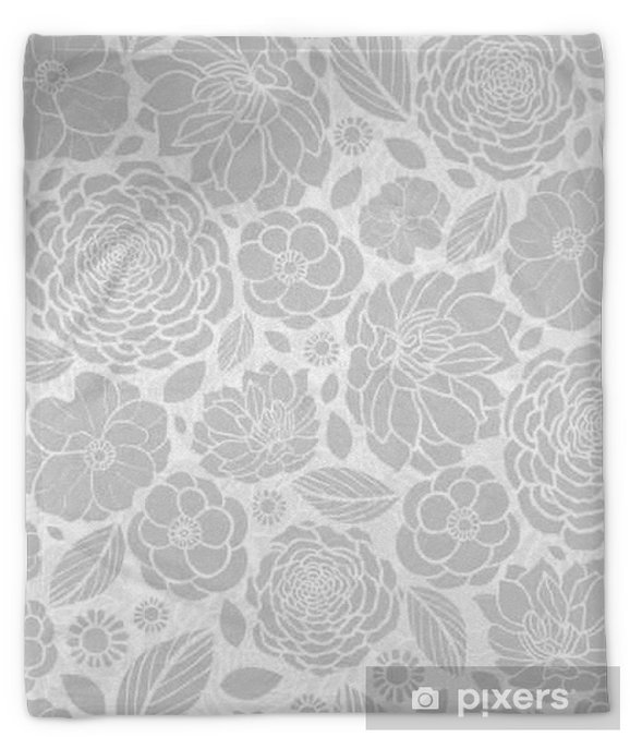 Vector Silver Grey White Mosaic Flowers Seamless Repeat Pattern Background Design. Great For Elegant wedding invitations, anniversary, packaging, fabric, wallpaper. Plush Blanket - Plants and Flowers