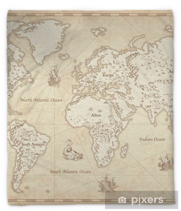 Vintage Illustrated World Map Plush Blanket - Travel