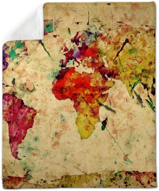 Vintage world map colorful paint watercolor on grunge paper plush vintage world map colorful paint watercolor on grunge paper plush blanket gumiabroncs Images